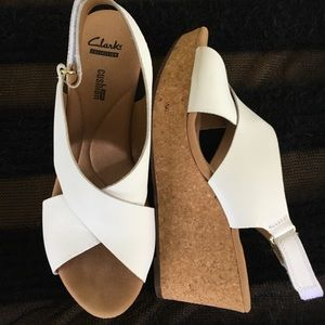 CLARKS White Cork Wedge Sandals Soft Cushion 8.5M